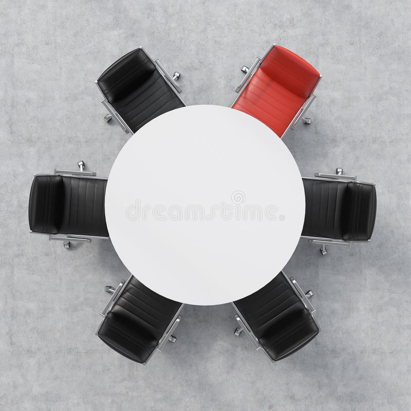 Top view of a conference room. A white round table and six chairs around, one of them is red. Office interior. 3D rendering. stock image