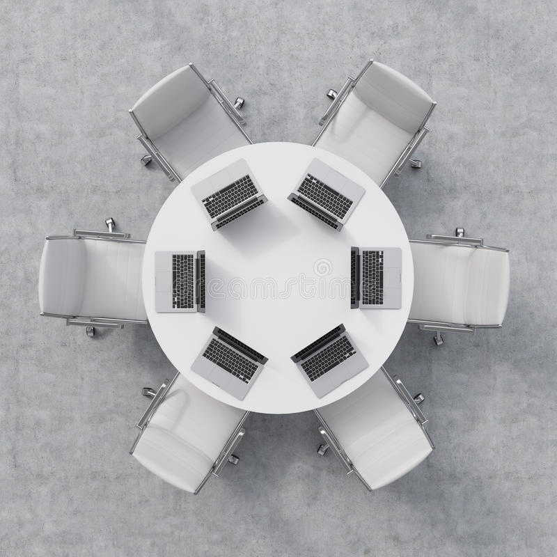 Top View Of A Conference Room A White Round Table Six