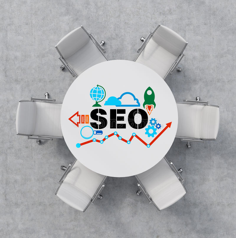 Top View of a conference room. A white round table and six white chairs around. Colourful SEO flowchart is drawn on the table surf stock illustration