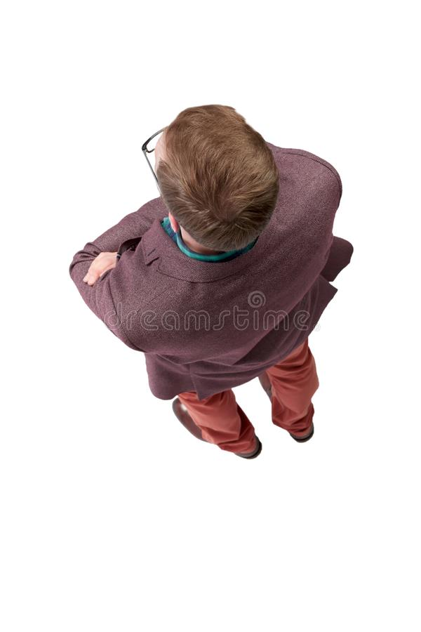 Top view. confident young man looking forward royalty free stock image