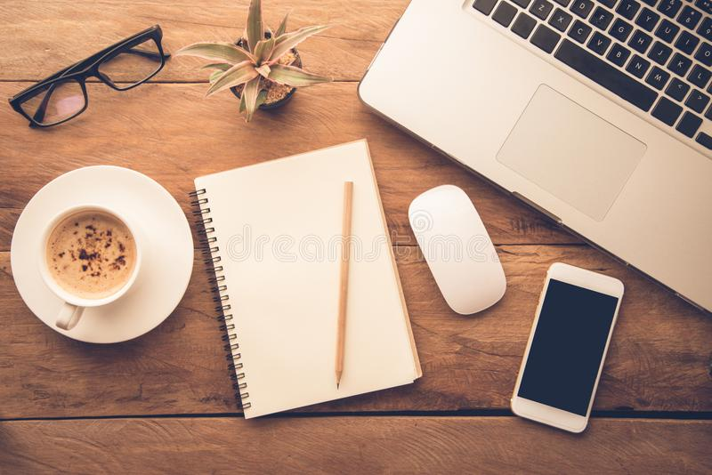Laptop Notebook Phone Coffee Glasses Pen And Pencil