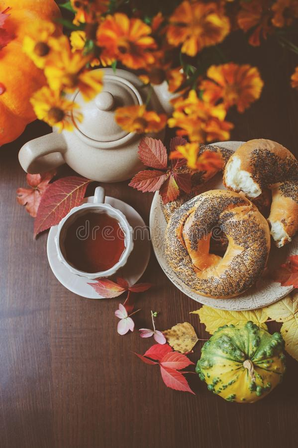 Top view of cozy autumn breakfast on table in country house royalty free stock photo