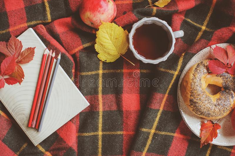 Top view of cozy autumn morning at home. Breakfast with pot of tea stock image