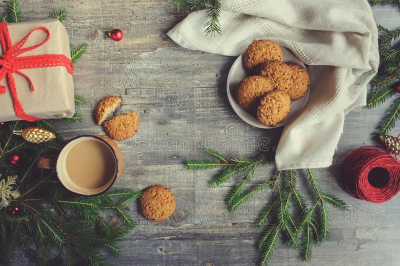 Top view of cozy Christmas and winter setting with homemade cookies stock image