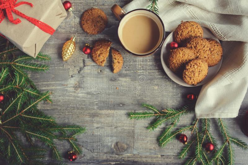 top view of cozy Christmas and winter setting with homemade cookies stock photos