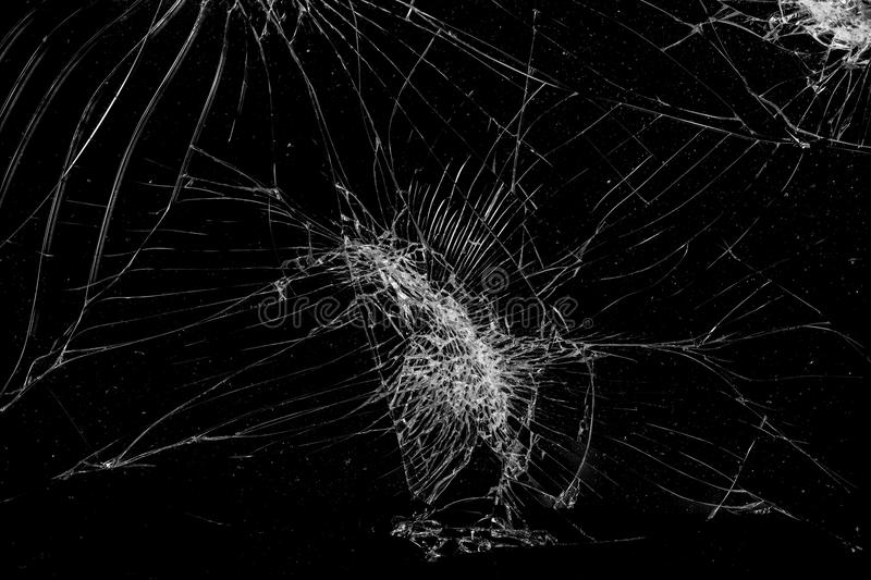 Top view cracked broken mobile screen glass texture background.  stock image