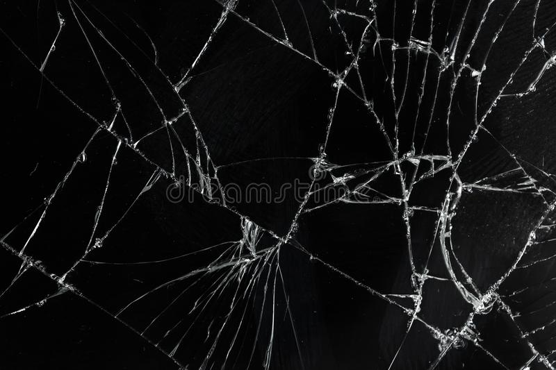 Top view cracked broken mobile screen glass. Texture background stock images