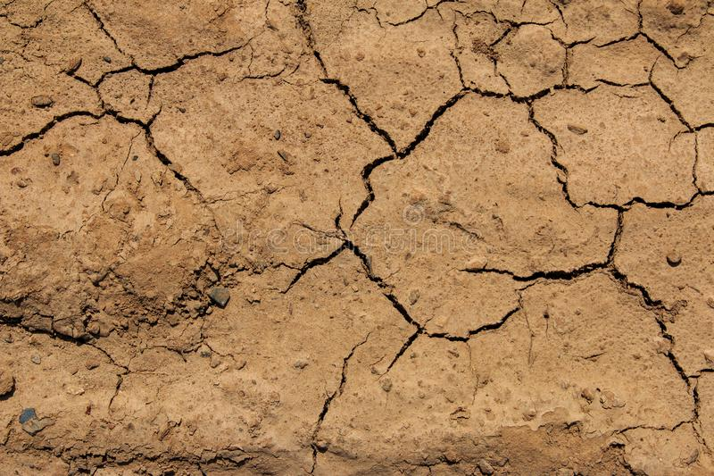 Top view Cracked mud pattern , ground abstract background stock photography