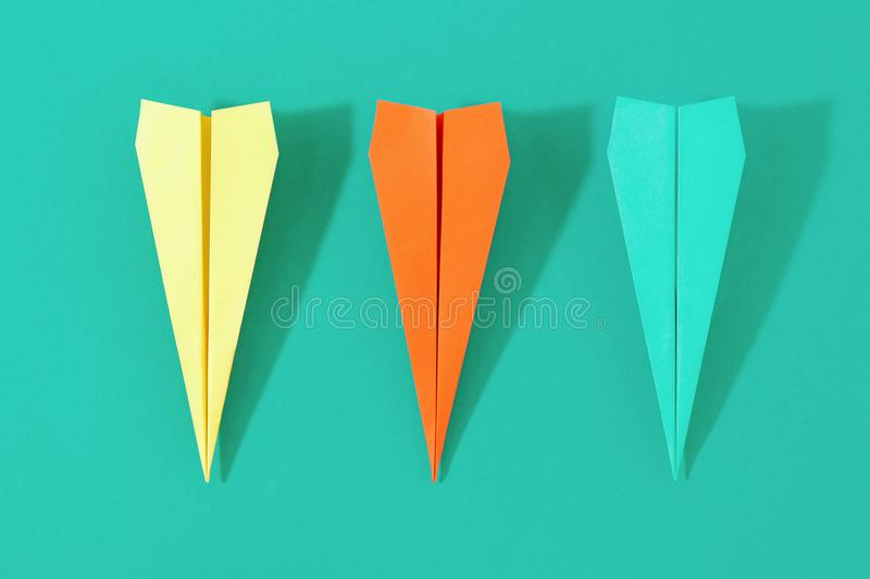 Top view creative travel background Flat lay colorful paper plan royalty free stock images