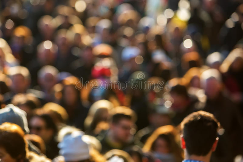 Top view of a crowd of people out of focus stock photography