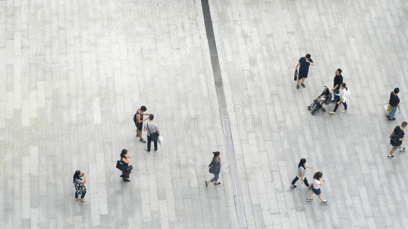 Top view crowd of people walk on business street pedestrian royalty free stock image