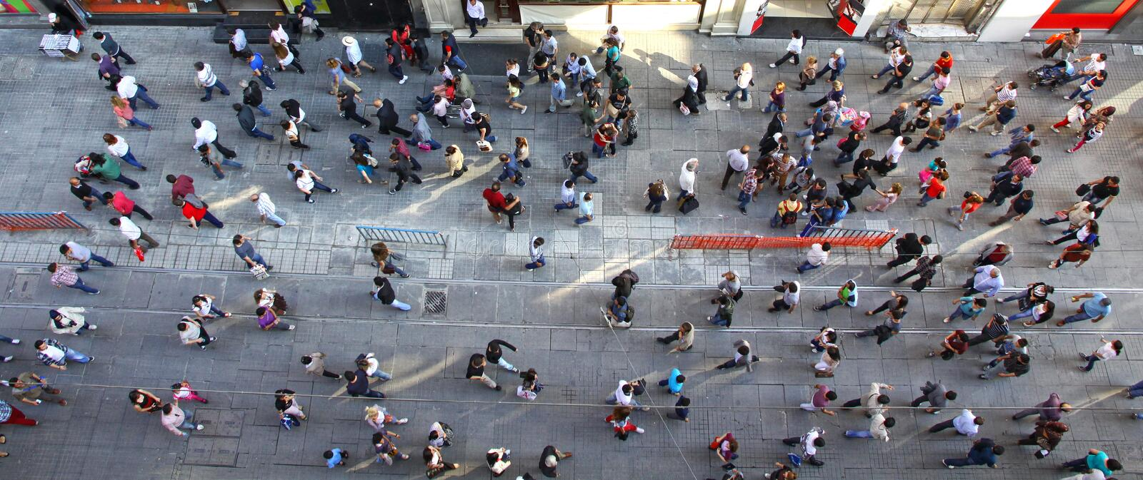 Crowd of unrecognizable people at Istiklal street in Istanbul royalty free stock photos