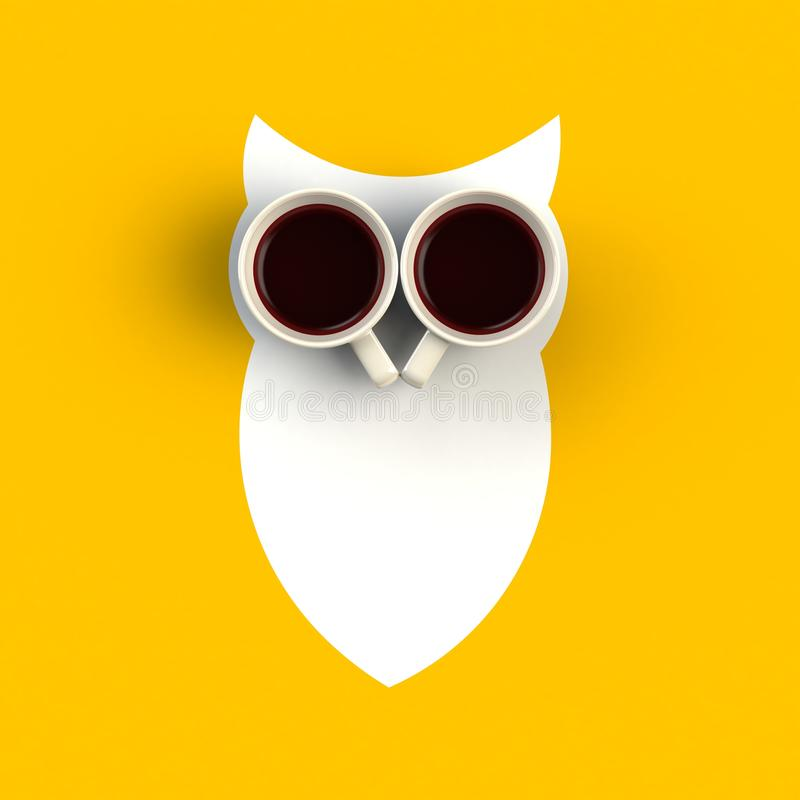 Top view of a cup of coffee in the form of owl isolated on yellow background royalty free stock photo