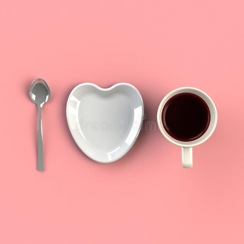 Top view of a cup of coffee with heart shape dish isolated on pink background, Coffee concept illustration. 3d rendering stock photography