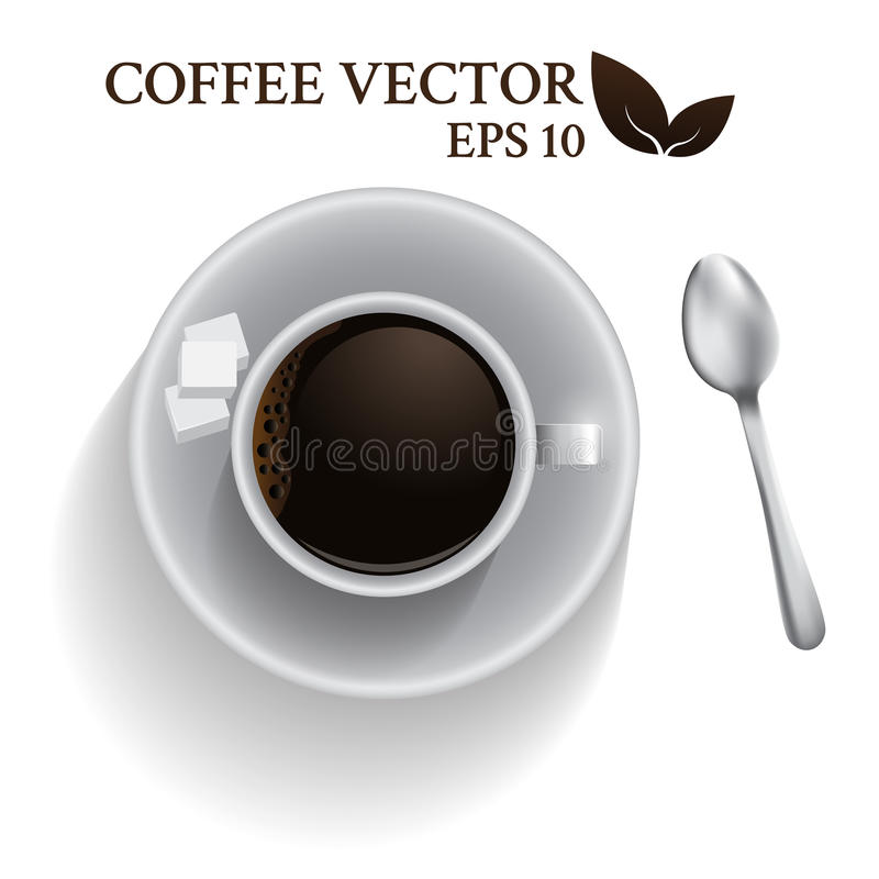 Top view a cup of coffee with spoon and cube sugar. espresso coffee shot isolated on white background. vector illustration. vector illustration