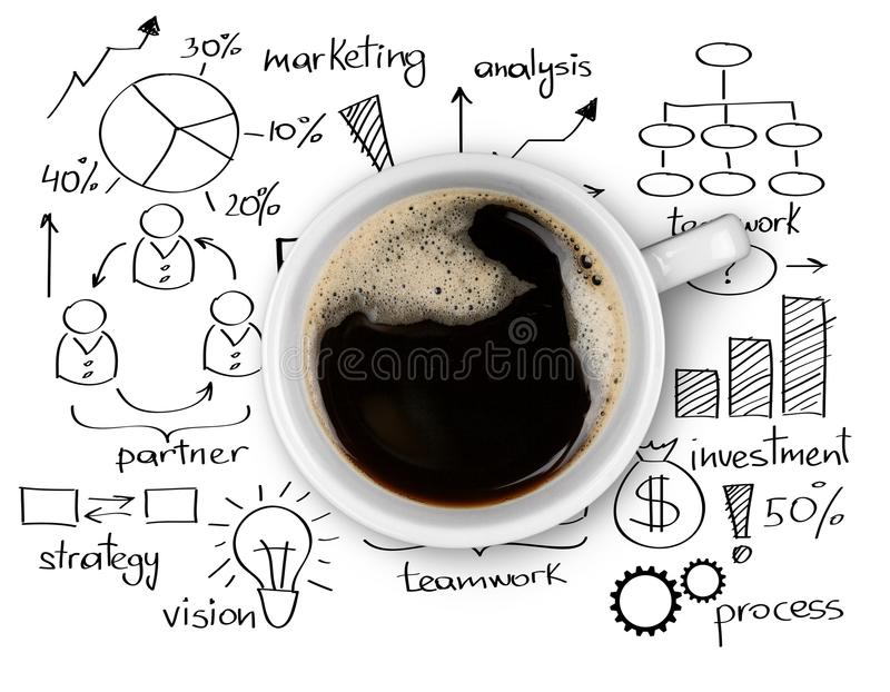 Top view of cup of delicious hot coffee on charts stock photo