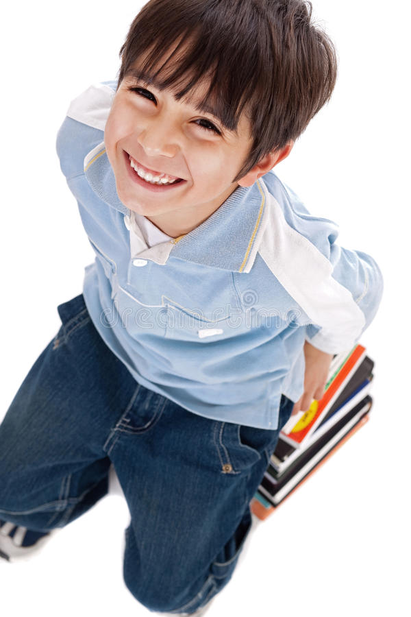 Top view of cute kid with books royalty free stock images