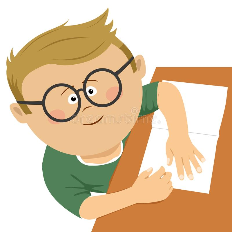 Top view of cute little nerd boy with glasses doing his homework. On white vector illustration