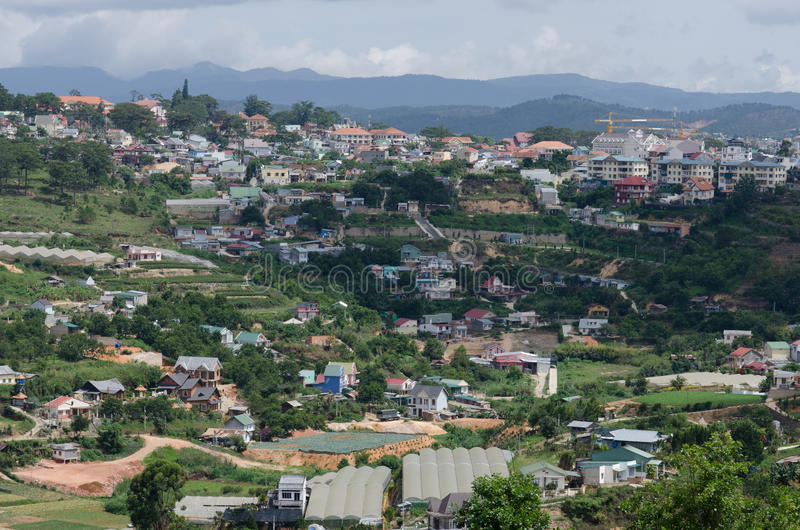 The top view of the Dalat city Vietnam. royalty free stock photos