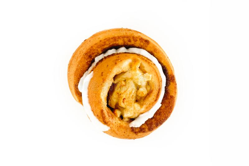 Top View of a Danish Apple Cinnamon Pastry on White. Danish Apple Cinnamon Pastry isolated on white background. Top view stock images