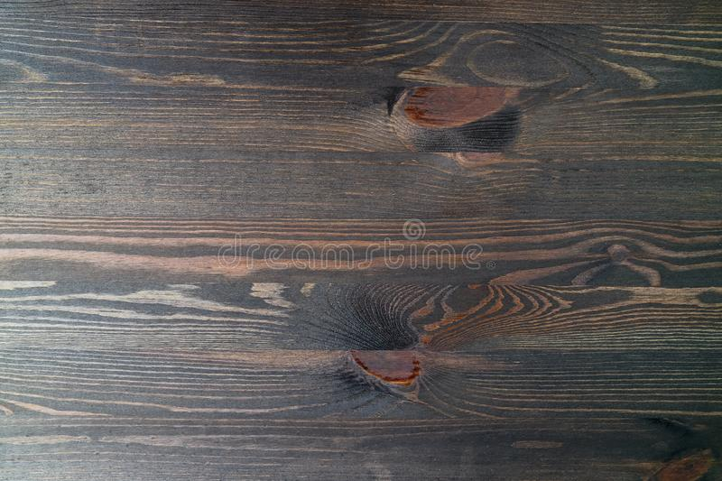 Top View of Dark Brown Wood Plank with Gorgeous Natural Wood Pattern royalty free stock photos