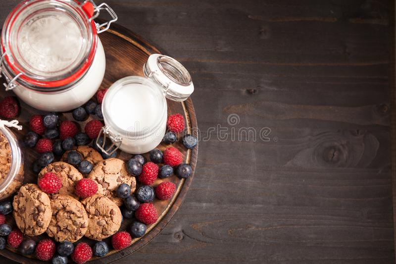 Top view of delicious and healthy breakfast made out of oatmel chocolate biscuits royalty free stock photo