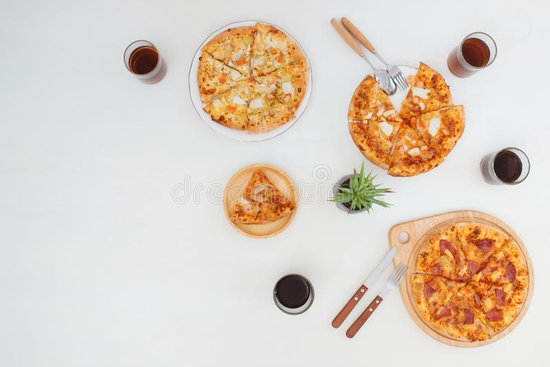 Top view of Delicious various kinds of pizza stock photography