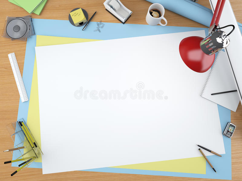 Top view of designer desktop vector illustration