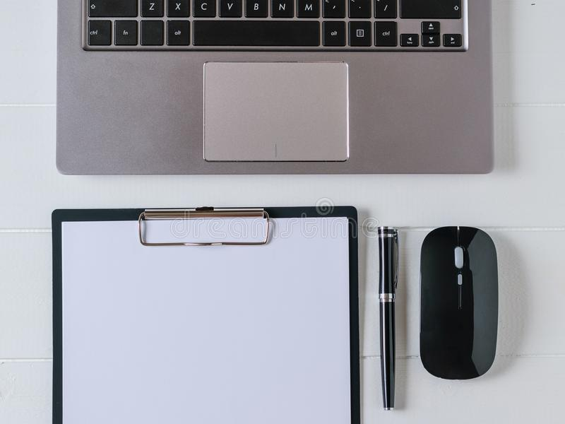 Top view of the designer`s workplace with laptop, tablet and pen. Work at home royalty free stock photos