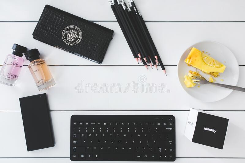 Top view of desk with copy space royalty free stock image