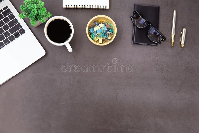 Modern office desk Workplace with laptop. stock photos