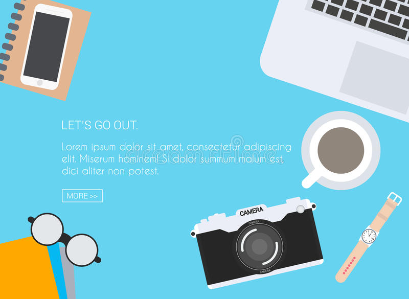 Top view desktop. Office desk table with photo camera, laptop, g stock illustration