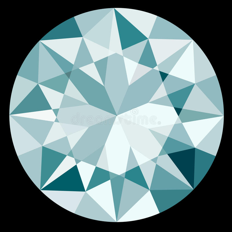 Top View Diamond on Black Background Illustration EPS10 Format royalty free illustration
