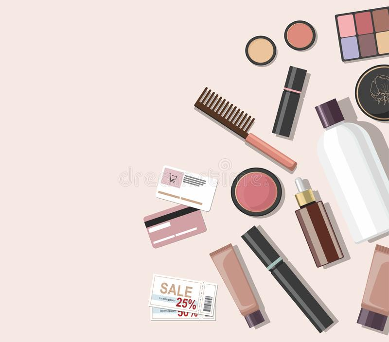 Top view of different cosmetics beauty products. royalty free illustration