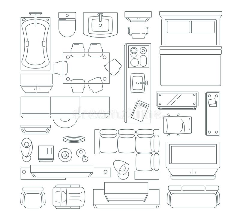 Top view of different furniture set for layout of the apartment. Vector mono line pictures set. Linear apartment house plan, bedroom and kitchen illustration royalty free illustration