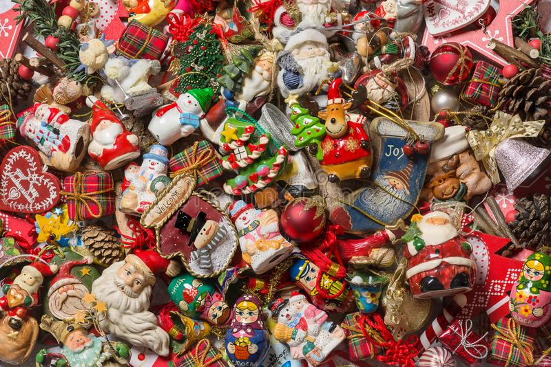 Top view of different type of Christmas decorations. Background - Top view of Christmas decorations royalty free stock photos
