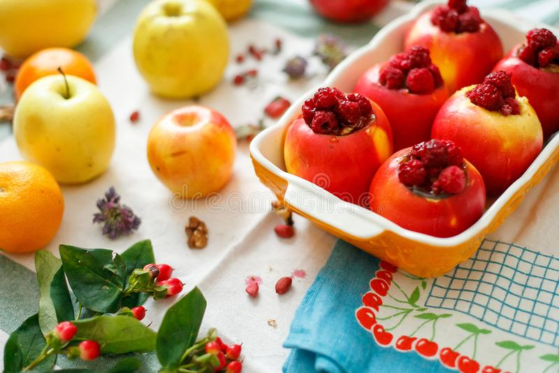 Top view of a dish with apple dessert stock photos