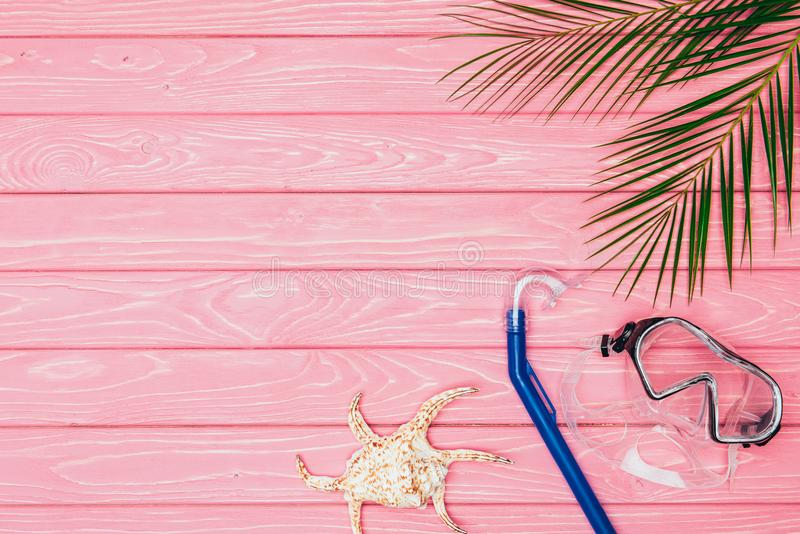 Top view of diving mask and snorkel with seashell on pink. Wooden surface royalty free stock photos