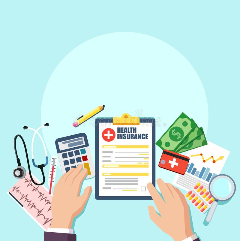 Top view of doctor or hospital business manager workplace. Medical stethoscope, pills, clipboard with patient card insurance contr. Act, money. Vector vector illustration