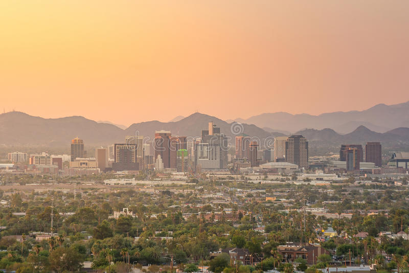 Top view of downtown Phoenix Arizona stock images