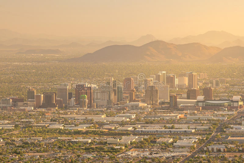 Top view of downtown Phoenix Arizona. At sunset in USA stock photography