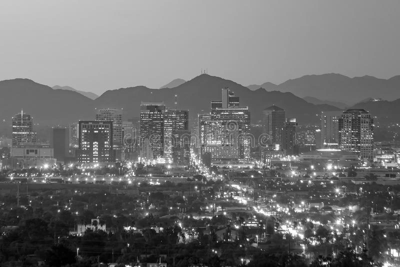 Top view of downtown Phoenix Arizona. At sunset in USA royalty free stock image