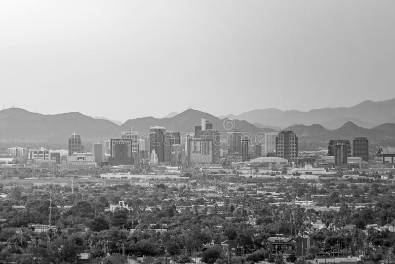 Top view of downtown Phoenix Arizona. At sunset in USA stock image