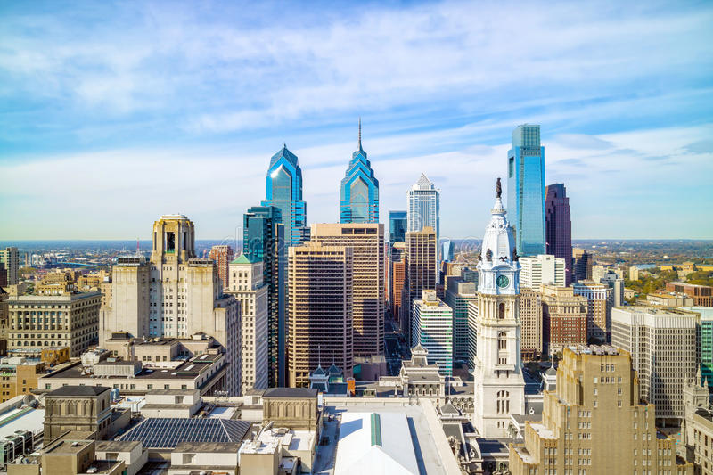 Top view of downtown skyline Philadelphia royalty free stock images