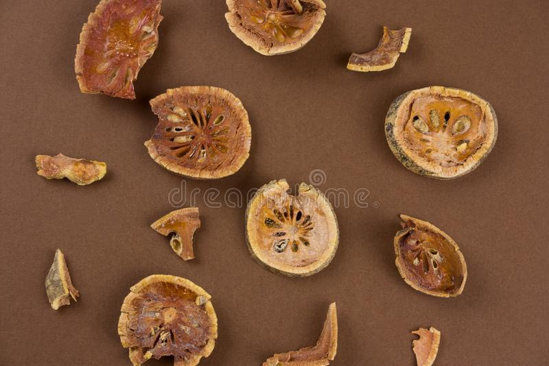 top view dried bael fruit matum slices stock photography