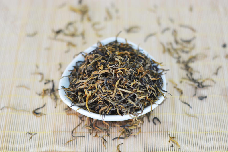 Top view of dried black red tea royalty free stock images
