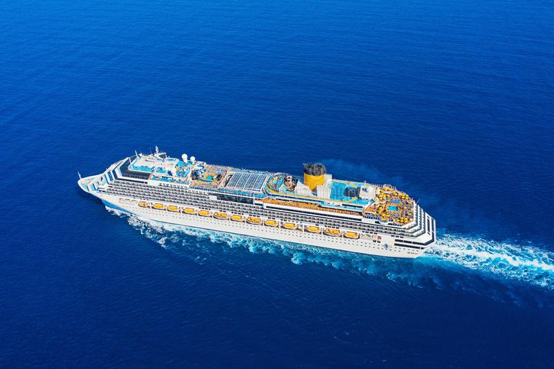 Top view from drone of floating liner stock photography