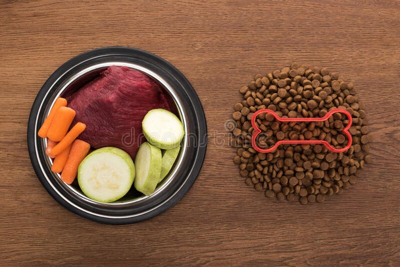 Top view of dry pet food with bone near raw vegetables and meat in bowl on wooden table. Top view of dry pet food with bone near raw vegetables and meat in bowl royalty free stock images