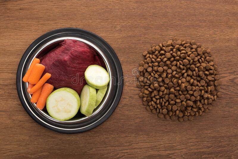 Top view of dry pet food near raw vegetables and meat in bowl on wooden table. Top view of dry pet food near raw vegetables and meat in bowl on wooden table royalty free stock photo