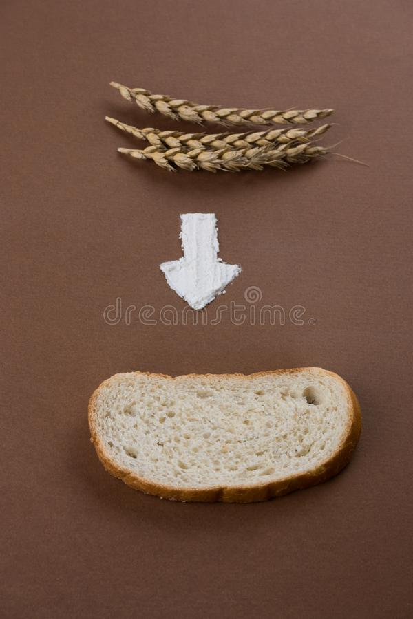 ears, the arrow of flour and a piece of bread. minimalism food flat lay royalty free stock image